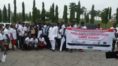 Whistleblower Protection Awareness march to the NASS to promote the passage of the whistleblower Protection Awareness bill and other Anti-Corruption bills